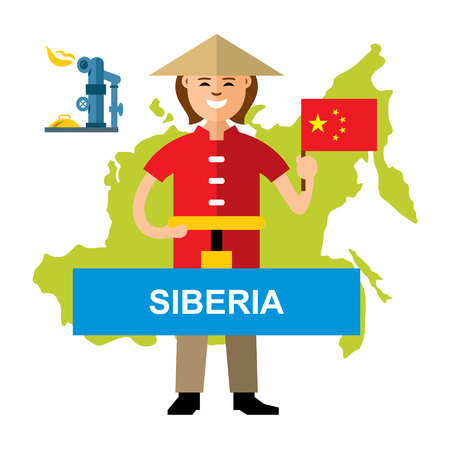 Vector Gas pipeline Siberia - China. Flat style colorful Cartoon illustration.