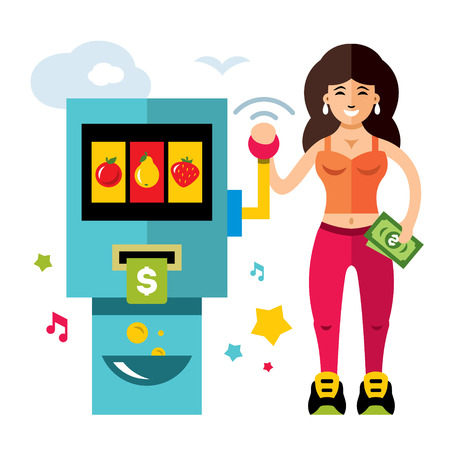 automat: Slot gadget and girl, game of chance colorful cartoon illustration.