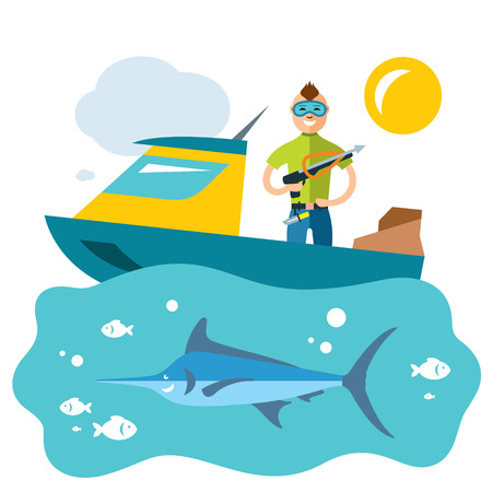 A Vector Spearfishing. Fishing. Flat style colorful Cartoon illustration.