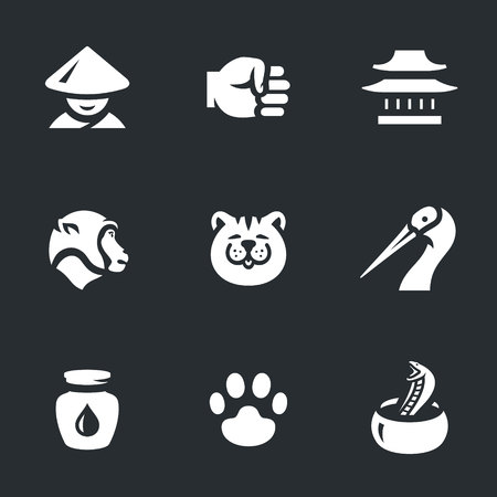 A Vector Set of Kung Fu Styles Icons. Illustration