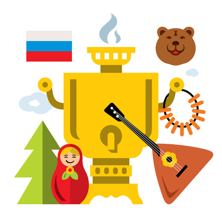 matryoshka: Vector Symbols of Russia. Flat style colorful Cartoon illustration. Illustration