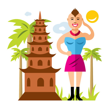 in monastery: Vector Thailand Culture. Flat style colorful Cartoon illustration.