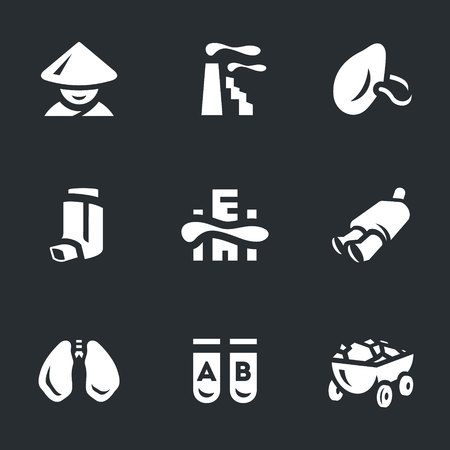 dyspnea: Vector Set of Air Pollution in China Icons.
