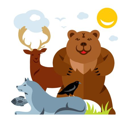 Vector Set of different wild animals. Flat style colorful Cartoon illustration.
