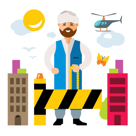 stateless: Vector Refugee migrant. Illegal migration. Flat style colorful Cartoon illustration.
