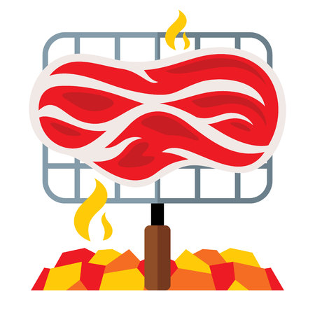 Vectror Meat on a barbecue grill. Flat style colorful Cartoon illustration.