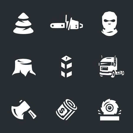 punishable: Vector Set of Illegal logging Icons.