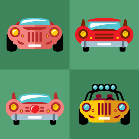 Vector Set of Cars. Flat style colorful Cartoon illustration.