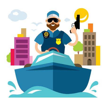 Vector Coast guard. Flat style colorful Cartoon illustration.