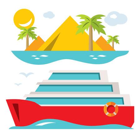 Vector Luxury Cruise Ship. Flat style colorful Cartoon illustration.