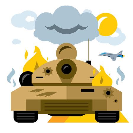 Vector Battle tank crash. Flat style colorful Cartoon illustration.