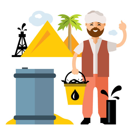 sand dunes: Vector Arab Oil Industry. Flat style colorful Cartoon illustration.