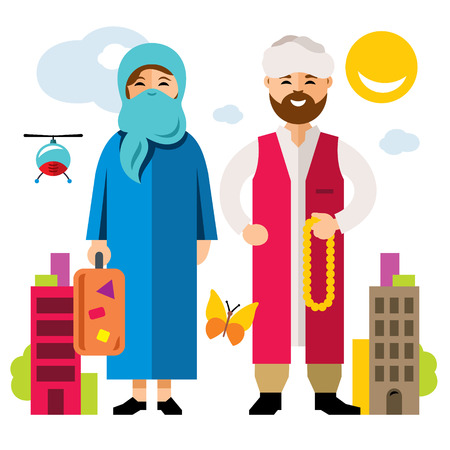 stateless: Vector Refugee migrants family. Illegal migration. Flat style colorful Cartoon illustration.