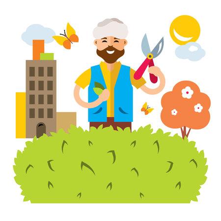 pruner: Vector Gardener in the city. Flat style colorful Cartoon illustration.