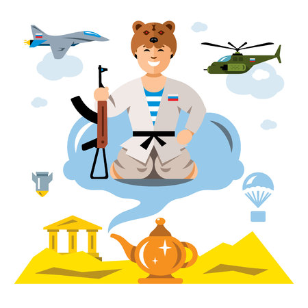 Vector Russian Army in the desert. Flat style colorful Comic Cartoon illustration.