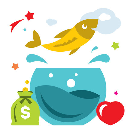 goldfish jump: Vector Goldfish. Flat style colorful Cartoon illustration. Illustration