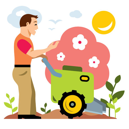 plow: Vector Gardening. Garden Tiller. Flat style colorful Cartoon illustration. Illustration