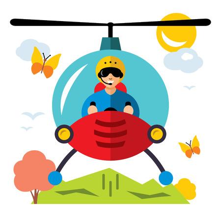 pilot  cockpit: Vector Helicopter pilot. Flat style colorful Cartoon illustration.