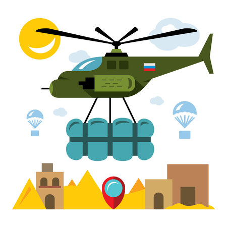 Vector Humanitarian aid in a war zone. Flat style colorful Cartoon illustration.