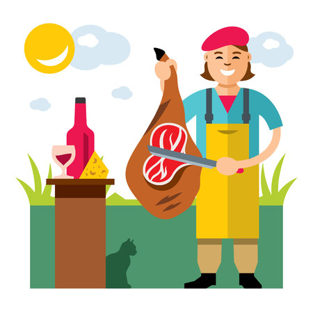 Vector Jamon Butcher Shop. Flat style colorful Cartoon illustration.