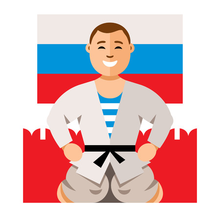 red square moscow: Vector Russian Man humor concept. Flat style colorful Cartoon illustration.