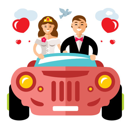 Vector Newlyweds in a limousine. Flat style colorful Cartoon illustration.
