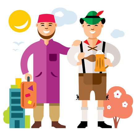 stateless: Vector Refugee in Germany. Illegal migration. Flat style colorful Cartoon illustration.