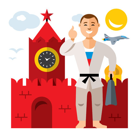 Vector Russia travel concept. Flat style colorful Cartoon illustration.