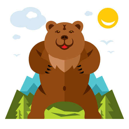 wilderness area: Vector Bear standing on the feet. Flat style colorful Cartoon illustration.