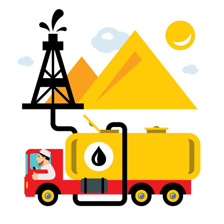 Vector Arab Oil Industry. Delivery Vehicles. Flat style colorful Cartoon illustration. Illustration