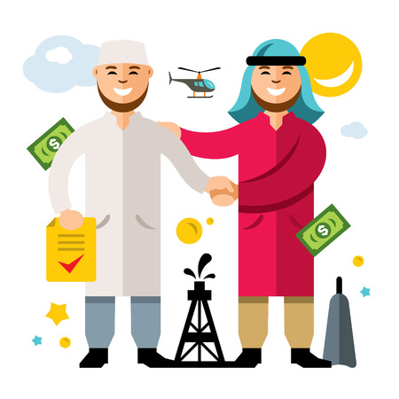 Vector Deal, Partnership, Agreement. Middle East Oil Business. Flat style colorful Cartoon illustration.