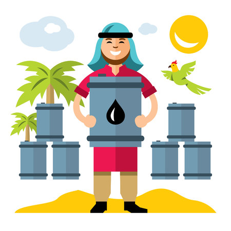 sand dunes: Vector Middle East Oil Industry. Flat style colorful Cartoon illustration.