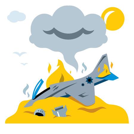 Vector Fighter crash. Flat style colorful Cartoon illustration.