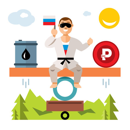 wobbly: Vector Unstable Russian economy. Balance of oil and the ruble. Humor concept. Flat style colorful Cartoon illustration.