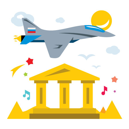 Vector Russian aviation in Syria Abstract Concept. Flat style colorful Cartoon illustration.