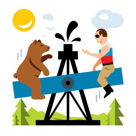 estereotipo: Vector de la industria petrolera rusa. Concepto de humor Ilustración de dibujos animados colorido estilo plano.