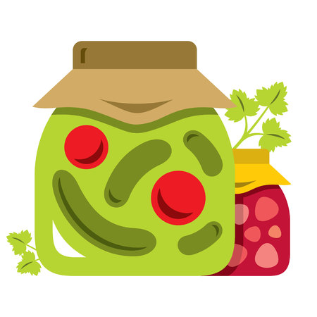 Vector Pickled tomatoes and cucumbers in glass jars, jam, parsley. Flat style colorful Cartoon illustration.
