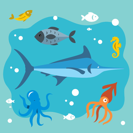 Vector Underwater life. Flat style colorful Cartoon illustration.