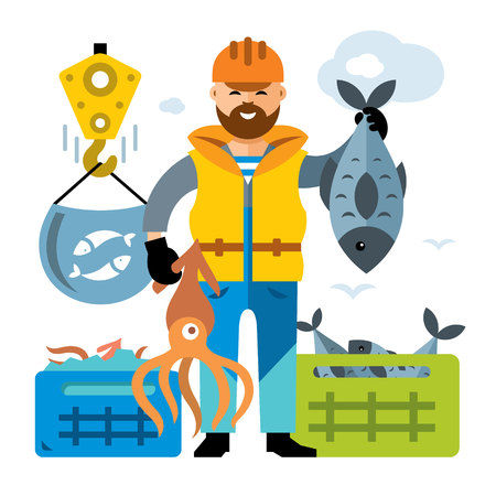 Vector Sea port. Unloading seafood. Flat style colorful Cartoon illustration.