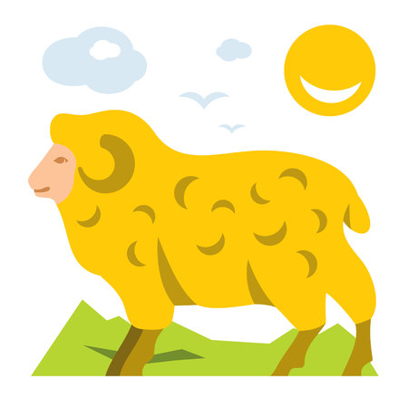 Vector Mountain Sheep. Flat style colorful Cartoon illustration.