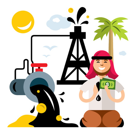 Vector Arab Petroleum Industry. Saudi oil wealth. Money from pipe. Flat style colorful Cartoon illustration. Illustration