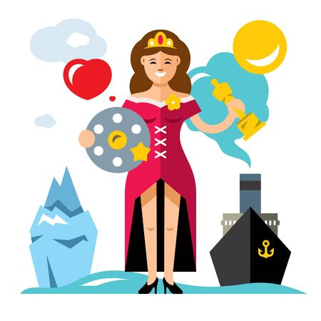 famous actress: Vector Cinema Award. Best Actress. Flat style colorful Cartoon illustration. Illustration