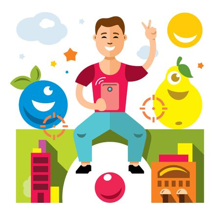 Vector Abstract virtual mobile game. Flat style colorful Cartoon illustration. Stock Photo