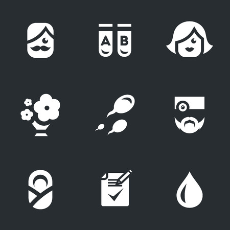 test tube babies: Vector Set of Childbirth Icons.