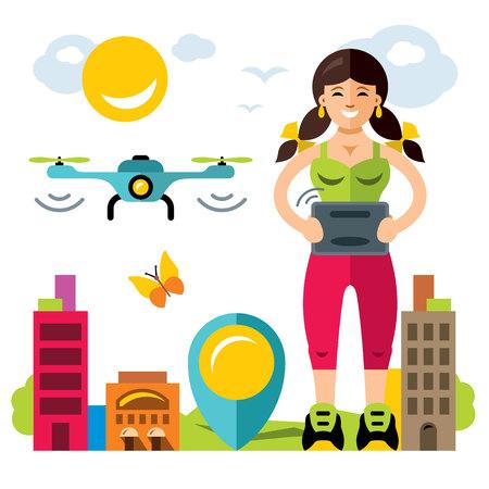 Vector Girl quadrocopter flight controls. Flat style colorful Cartoon illustration.