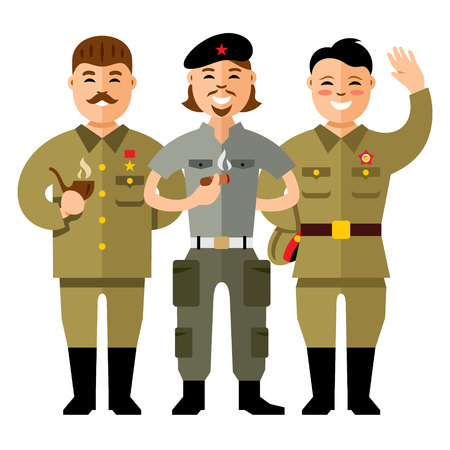 cuban culture: Vector Communist Group. Flat style colorful Cartoon illustration. Illustration