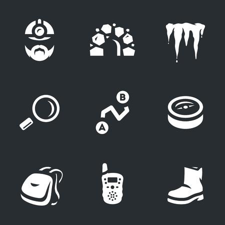 Vector Set of Underground Explorer Icons. Illustration