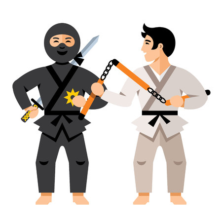 Ninja fighter and Karate Athlete. Isolated on a White Background.