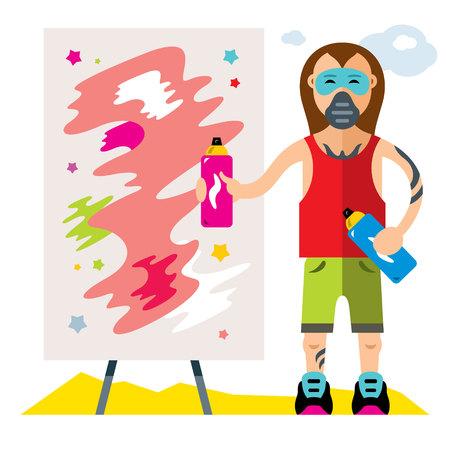 paint can: Vector Urban graffiti artist. Flat style colorful Cartoon illustration.