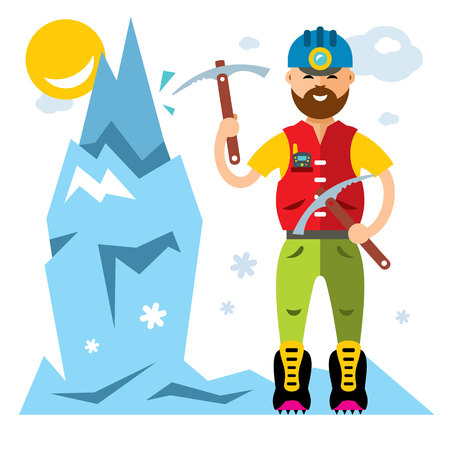 Vector Ice Climber. Flat style colorful Cartoon illustration. Illustration